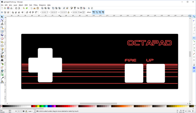 Front panel design in Inkscape.