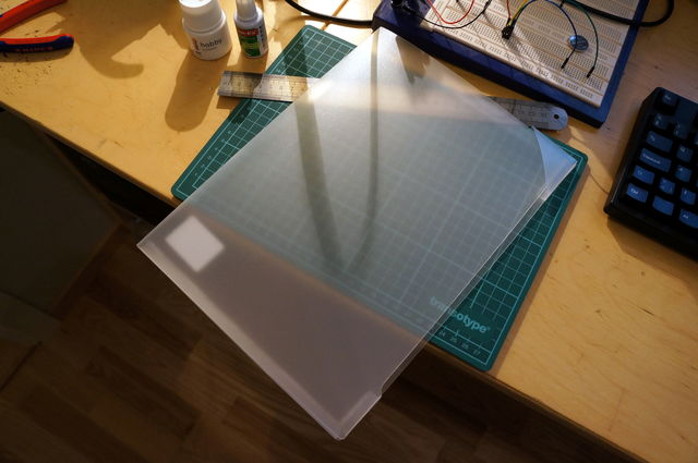 A transparent polypropylene folder I picked up at a local office supply store.